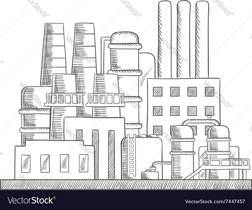 Industrial refinery factory sketch