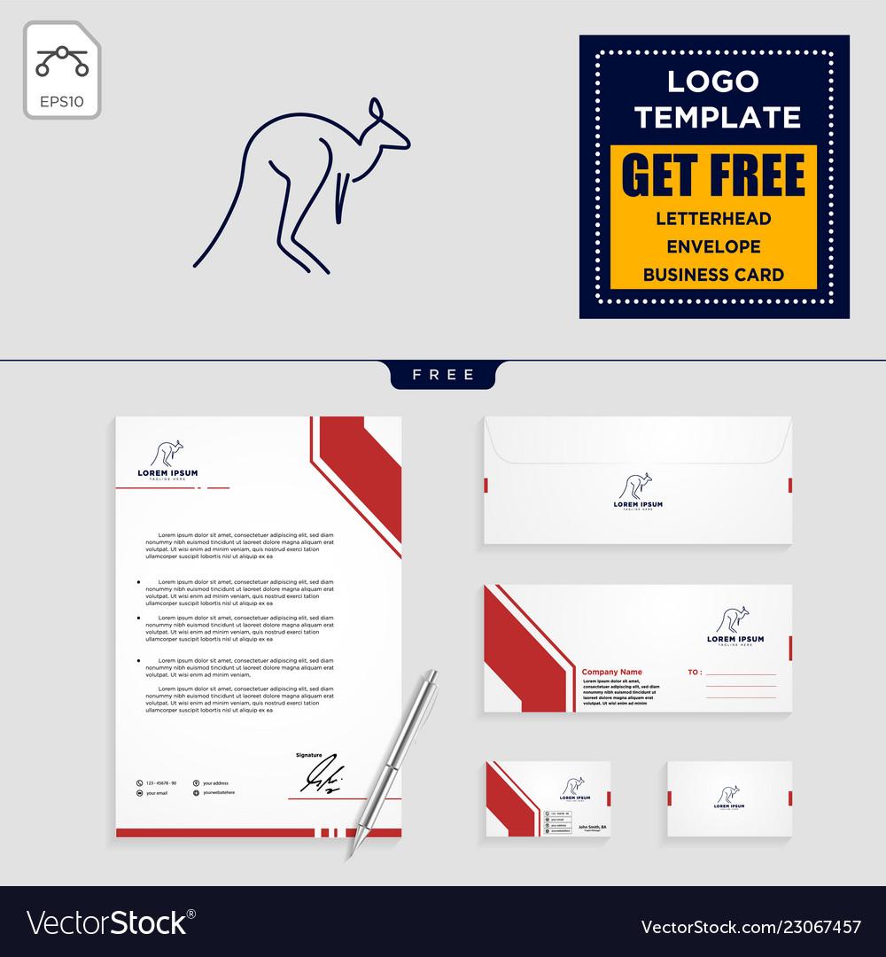 Kangaroo logo template and stationery design