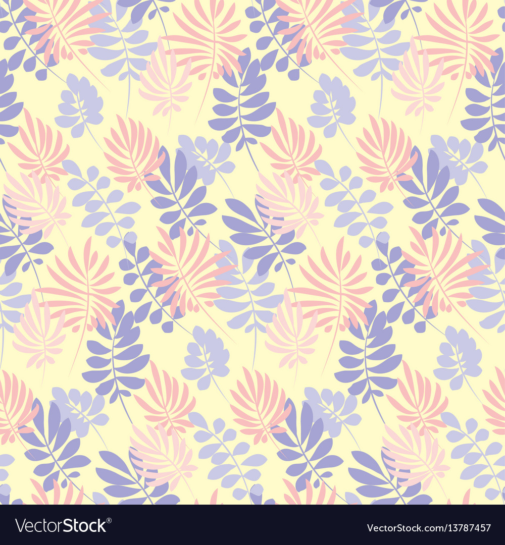 Modern plant pattern pale color tropical leaves vector image