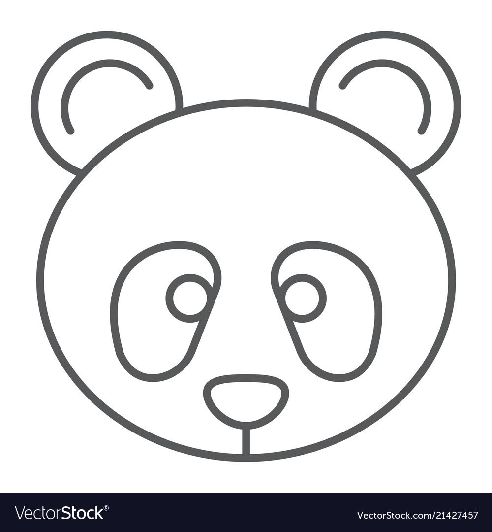 Panda thin line icon zoo and animal fauna sign