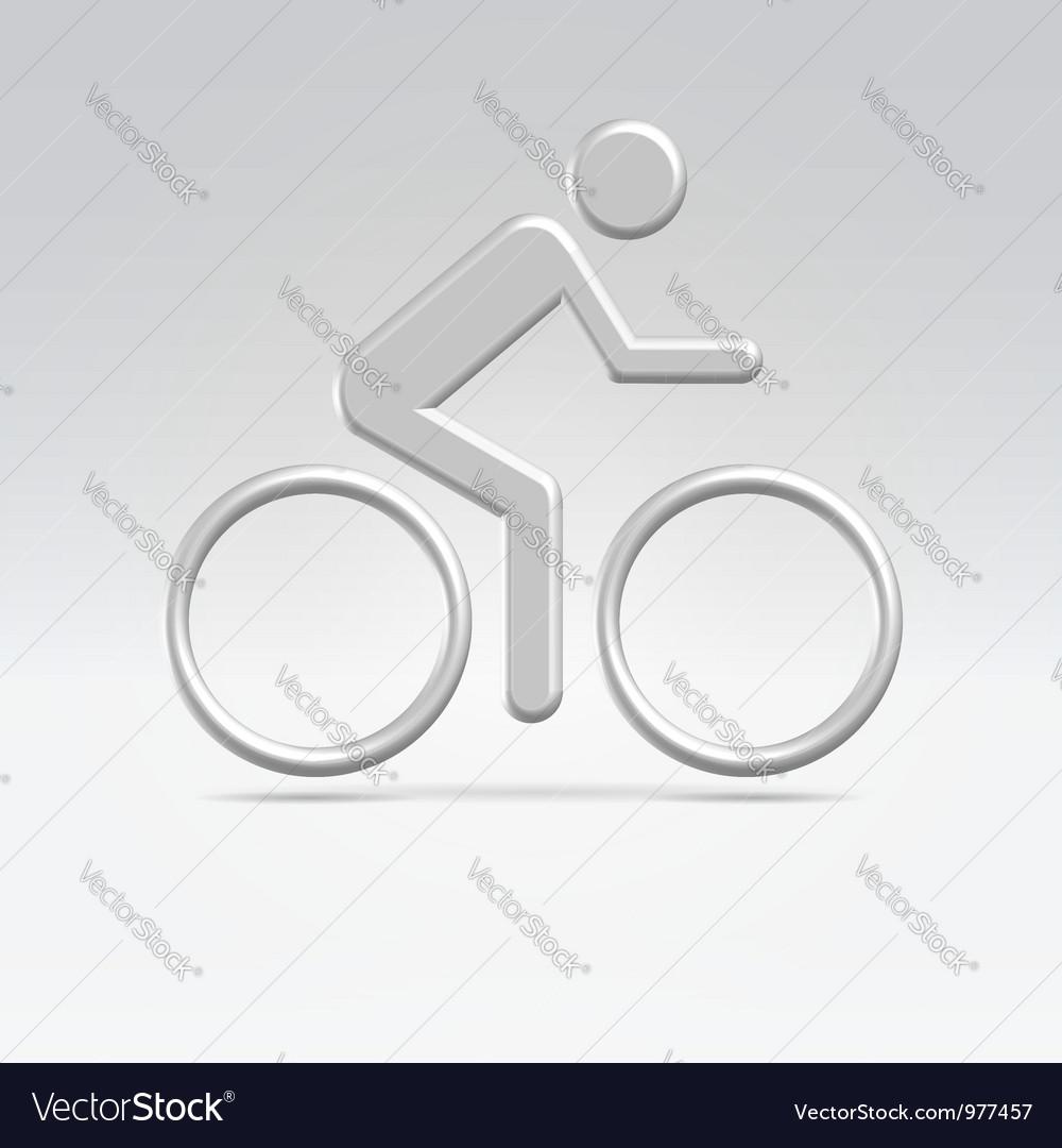 Silver cyclist icon vector image