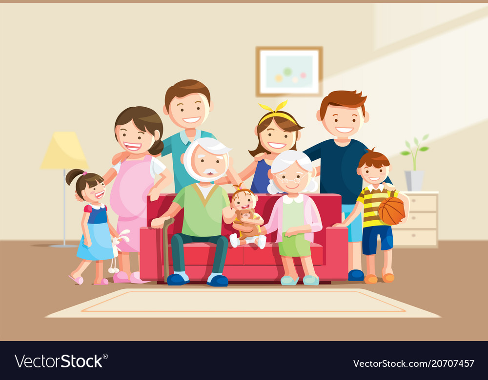 Warm big family portrait with blurred background