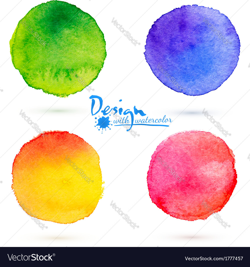 Watercolor circle splashes set