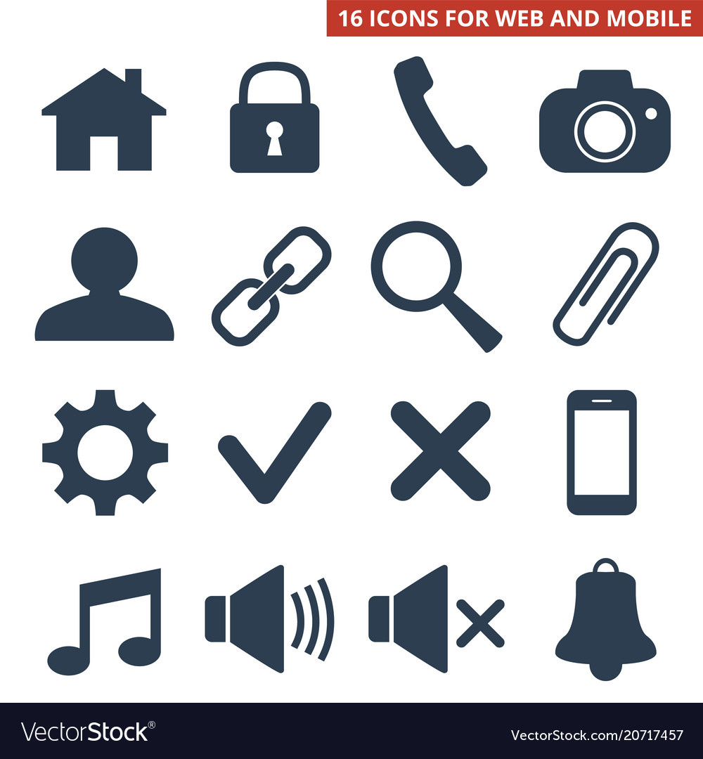 Web icons set on white background vector image