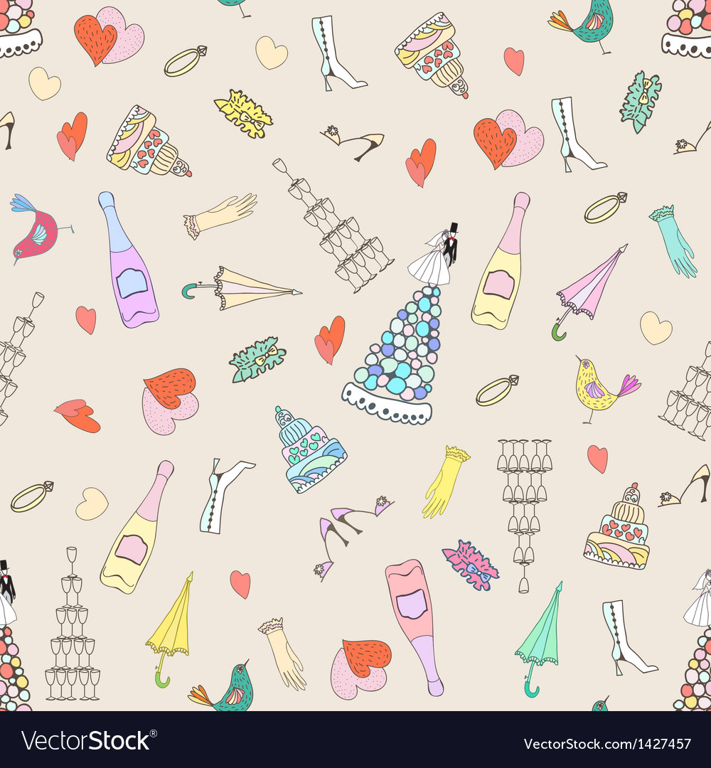 Wedding seamless pattern with cute hand drawn
