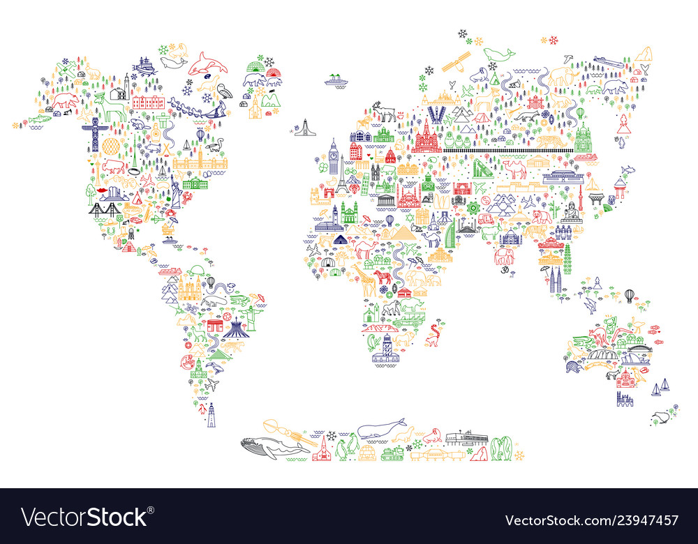 World travel line icons map travel poster