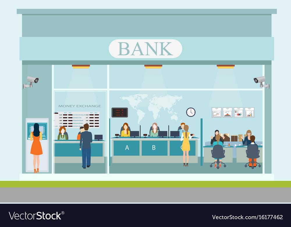 Bank building exterior and bank interior