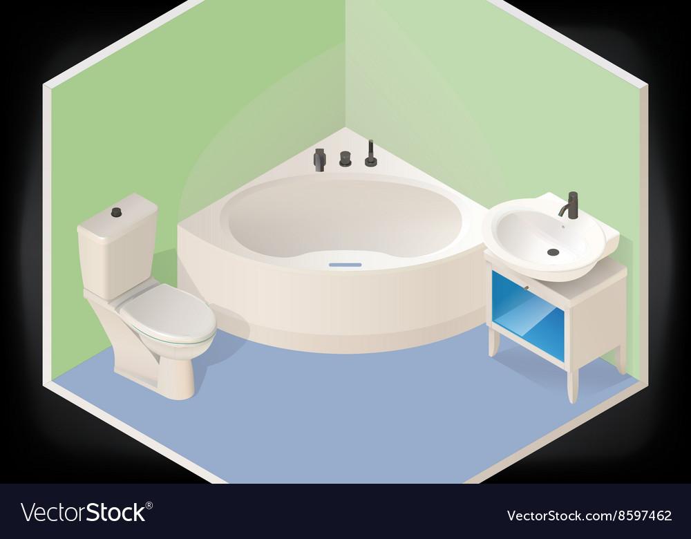 Bathroom isometric flat 3d