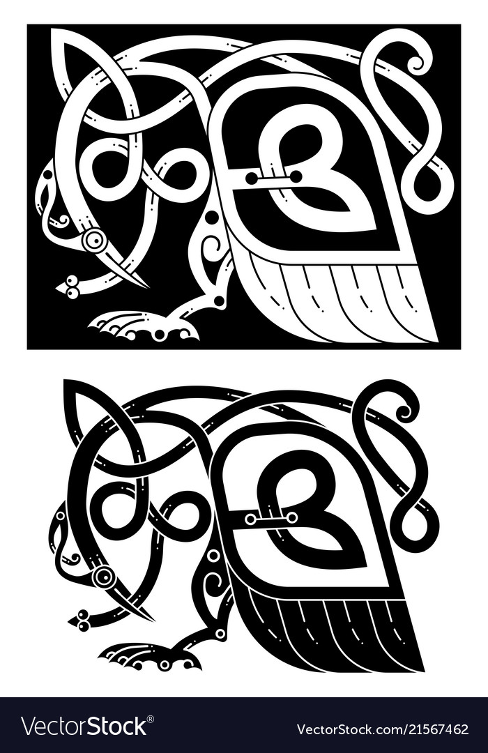 Bird and snake in celtic style
