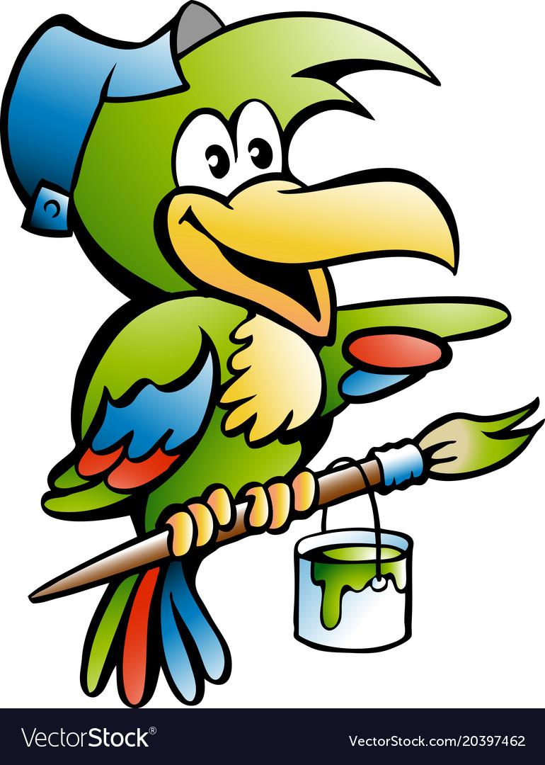 Cartoon of a parrot painter handyman worker vector image
