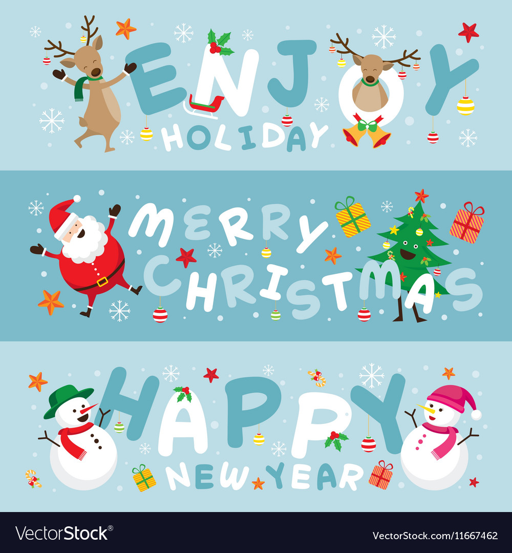 Christmas Banner Santa Claus and Friends Lettering