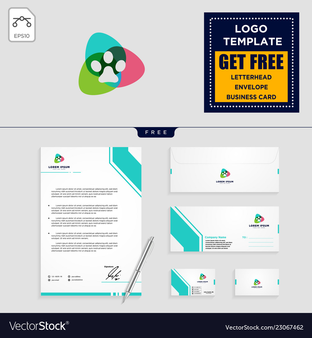 Dog care logo template and stationery design