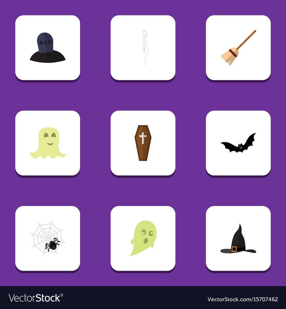 Flat icon halloween set of skeleton phantom