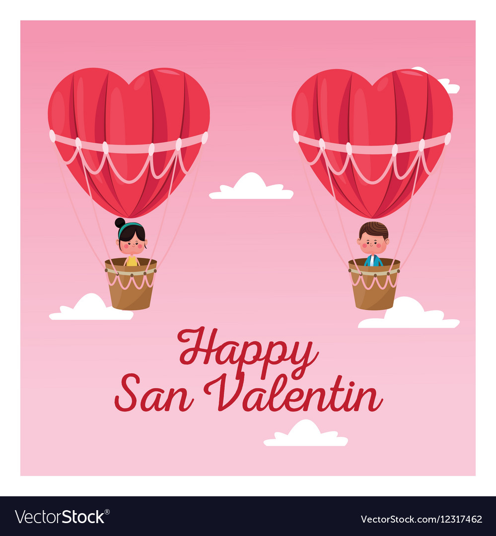 Happy San Valentine Boy And Girl Flying Heart Vector Image