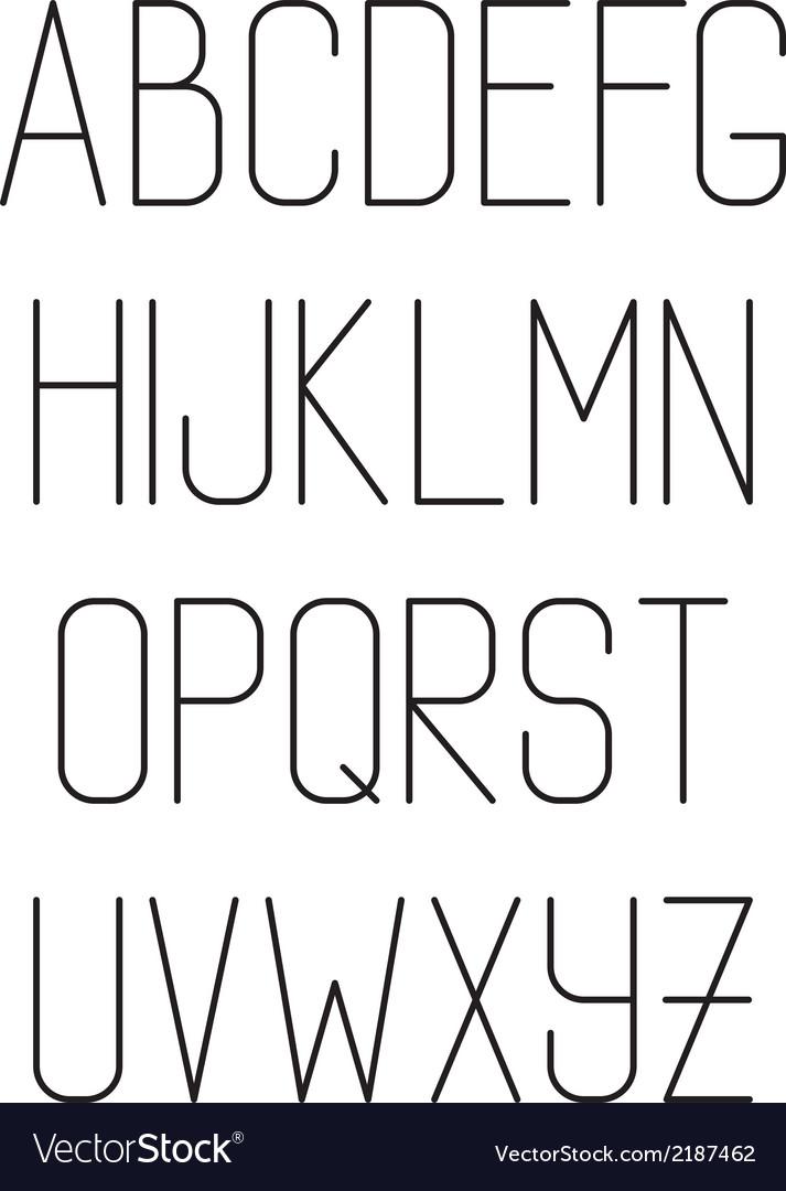 Light thin hand drawn font type alphabet