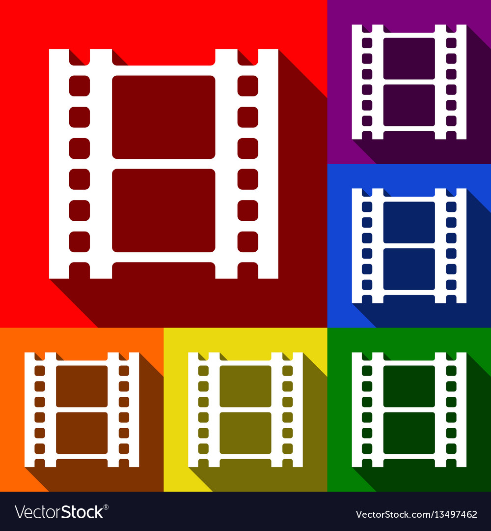 Reel of film sign set of icons with flat