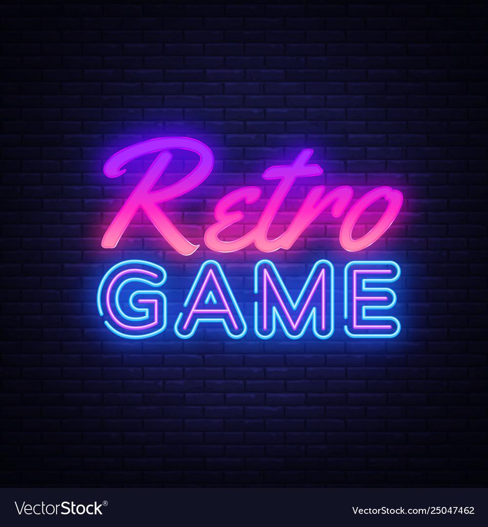 Retro games neon sign gaming design