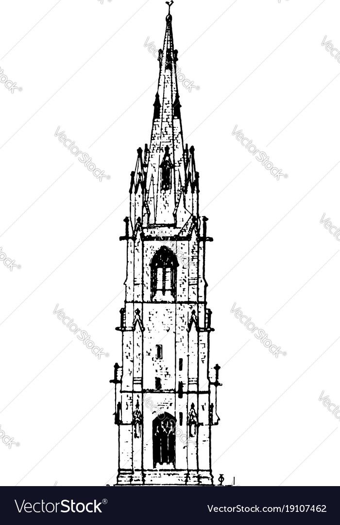 Spire highest level vintage engraving vector image