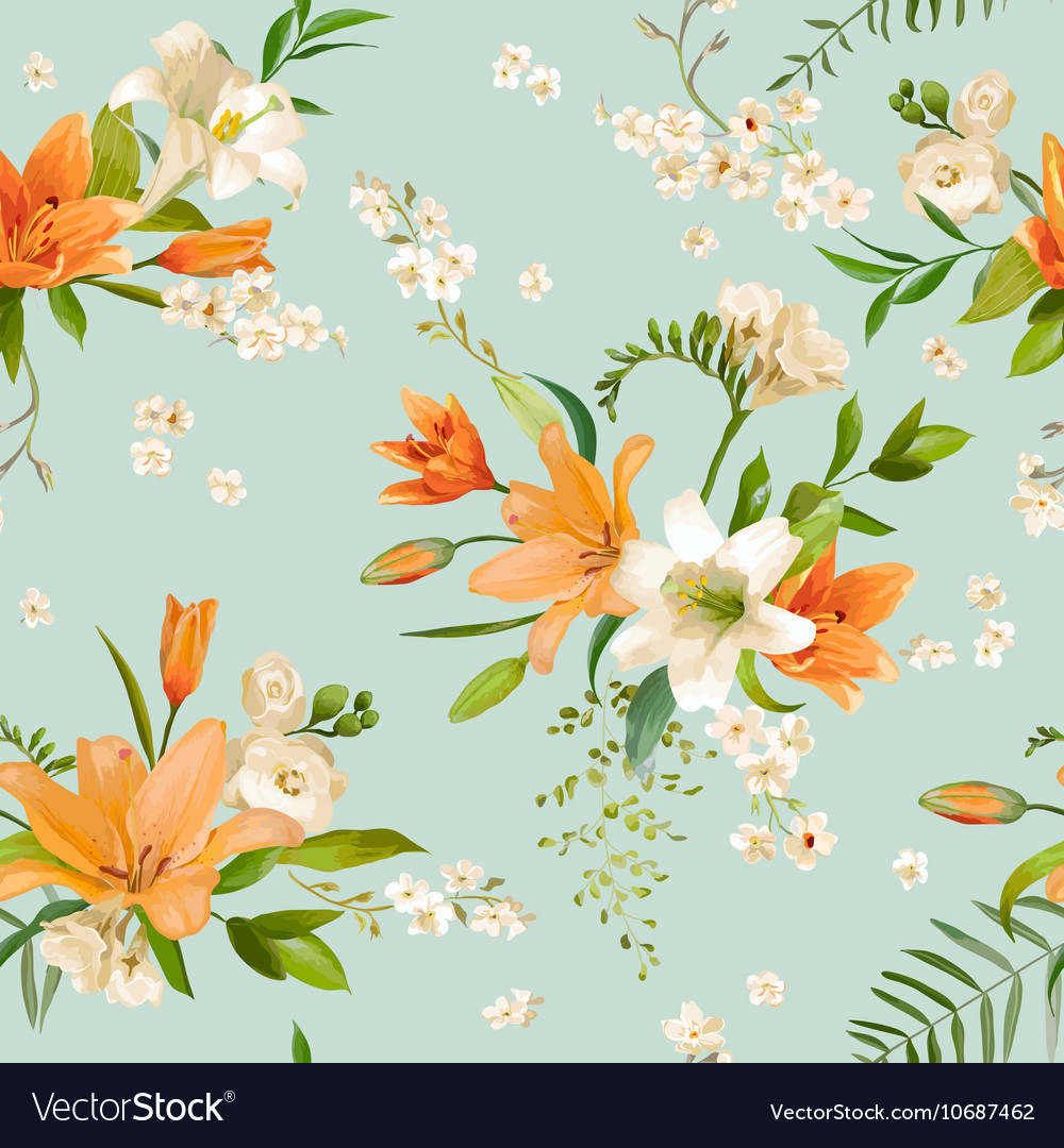 Spring Lily Flowers Backgrounds Seamless Pattern