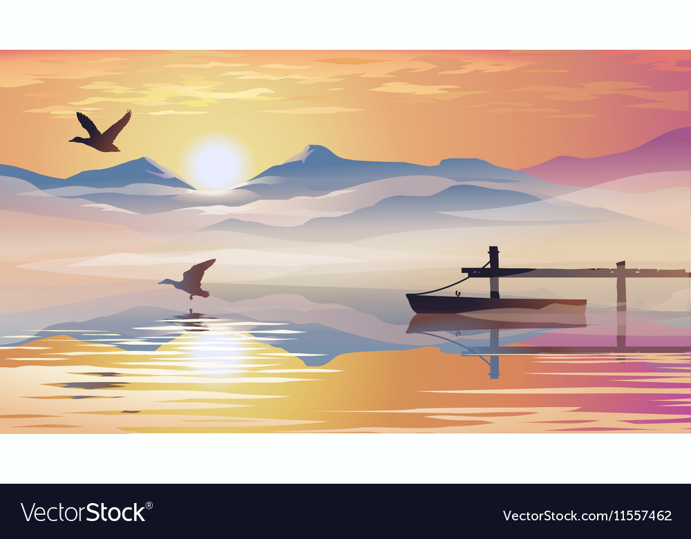 View of the lake and pier vector image