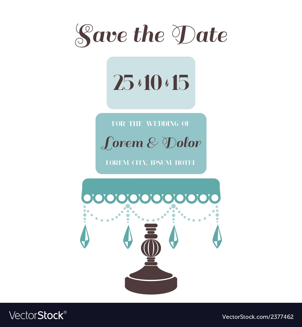 Wedding Cake Invitation - Save the Date vector image
