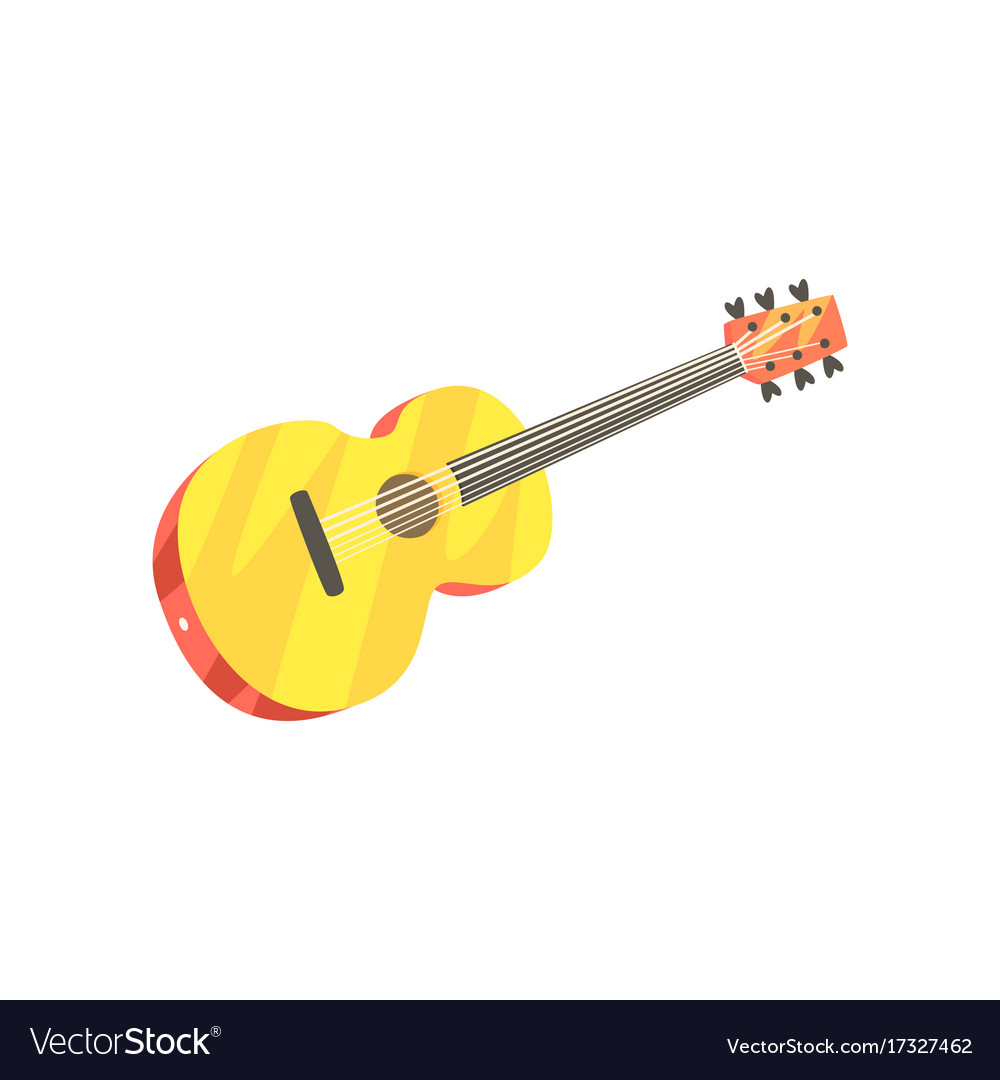 Wooden classic guitar musical instrument cartoon