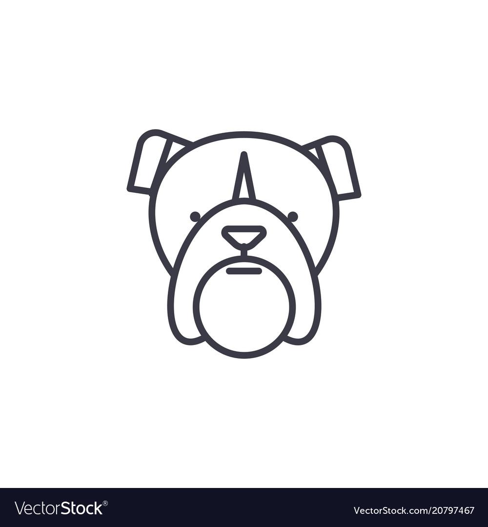 Bulldog head line icon sign
