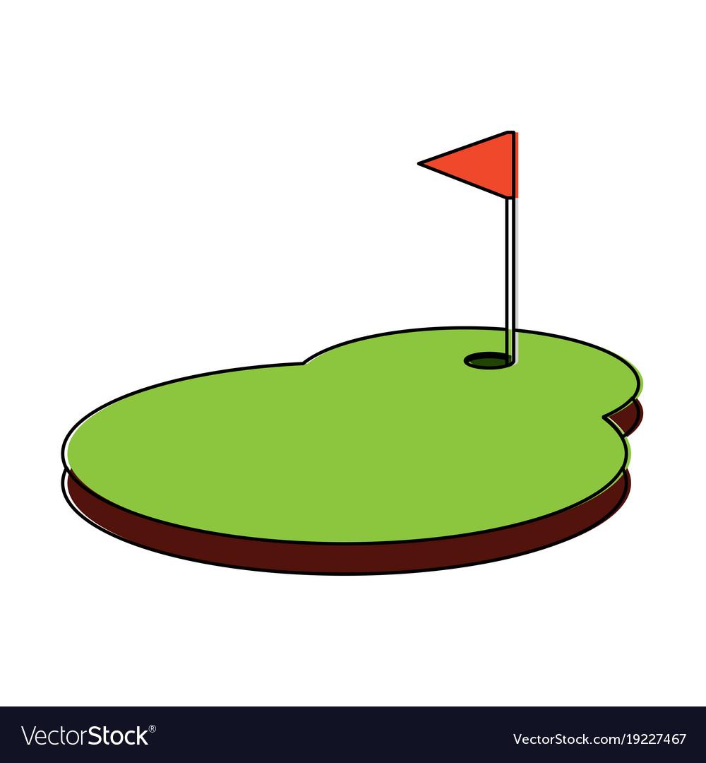 Cartoon Golf Flag With Hole Grass Field Royalty Free Vector