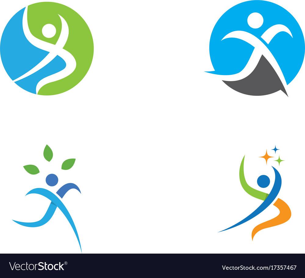 Fun people healthy life logo template icon