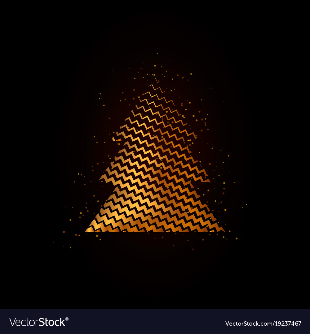 Gold geometric christmas tree on black background