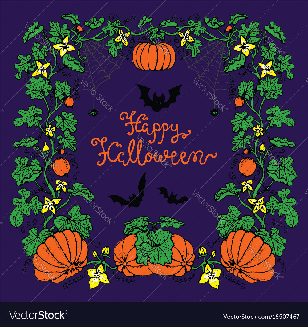 halloween colorful frame with pumpkins bats vector image