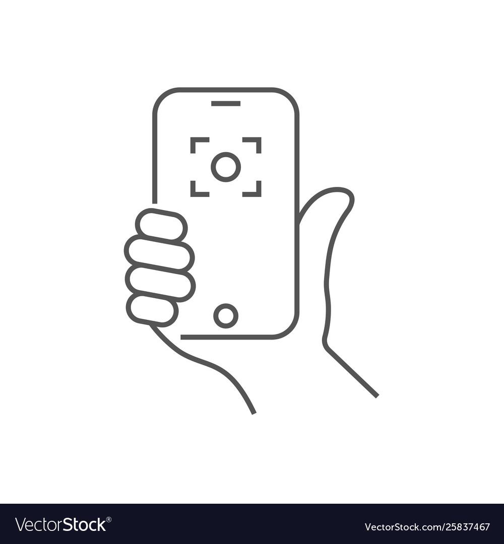 Hand holding phone selfie icon trendy icon