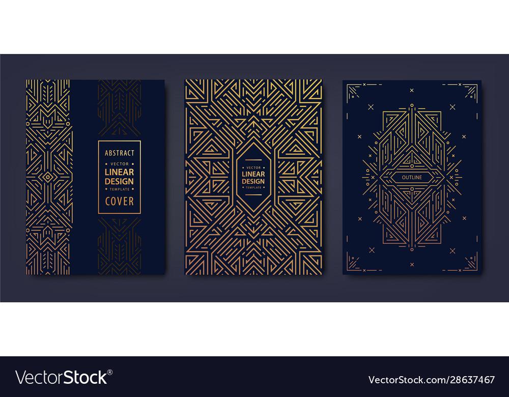 Set art deco golden covers creative