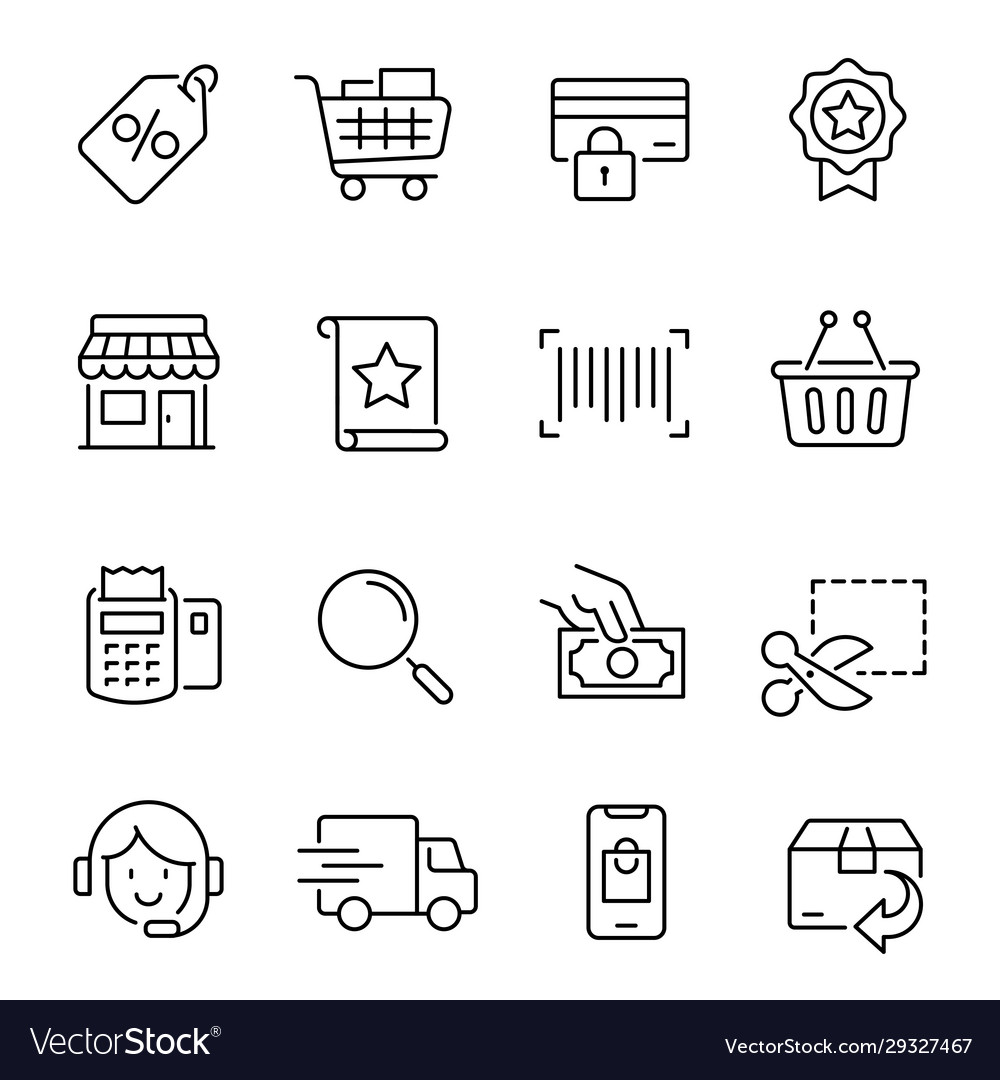 Shopping line icons modern monochrome