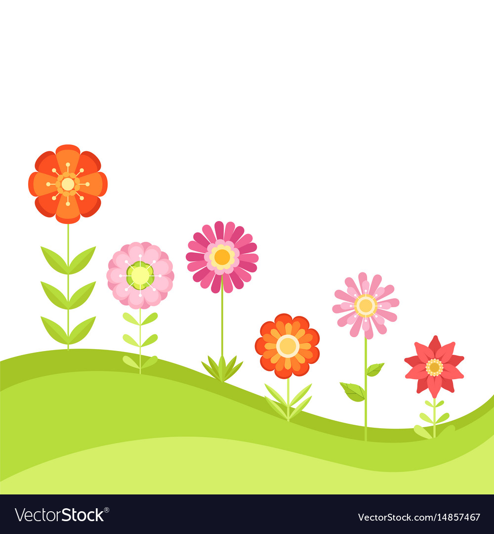 Summer floral background with garden