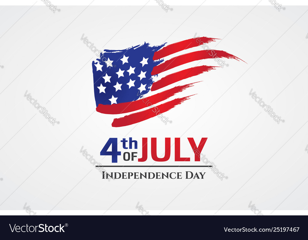 Us flag with brush stroke style 4th july greeting