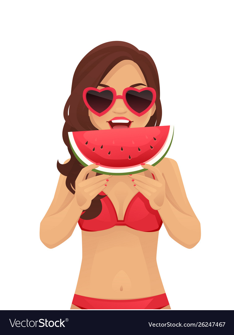 Watermelone smile woman