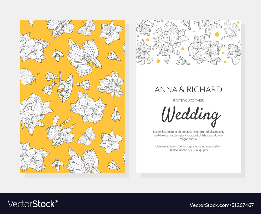 Wedding invitation card template with spring