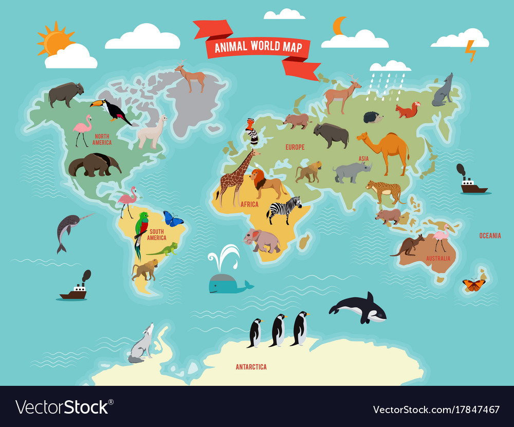 Wildlife Animals On The World Map Royalty Free Vector Image