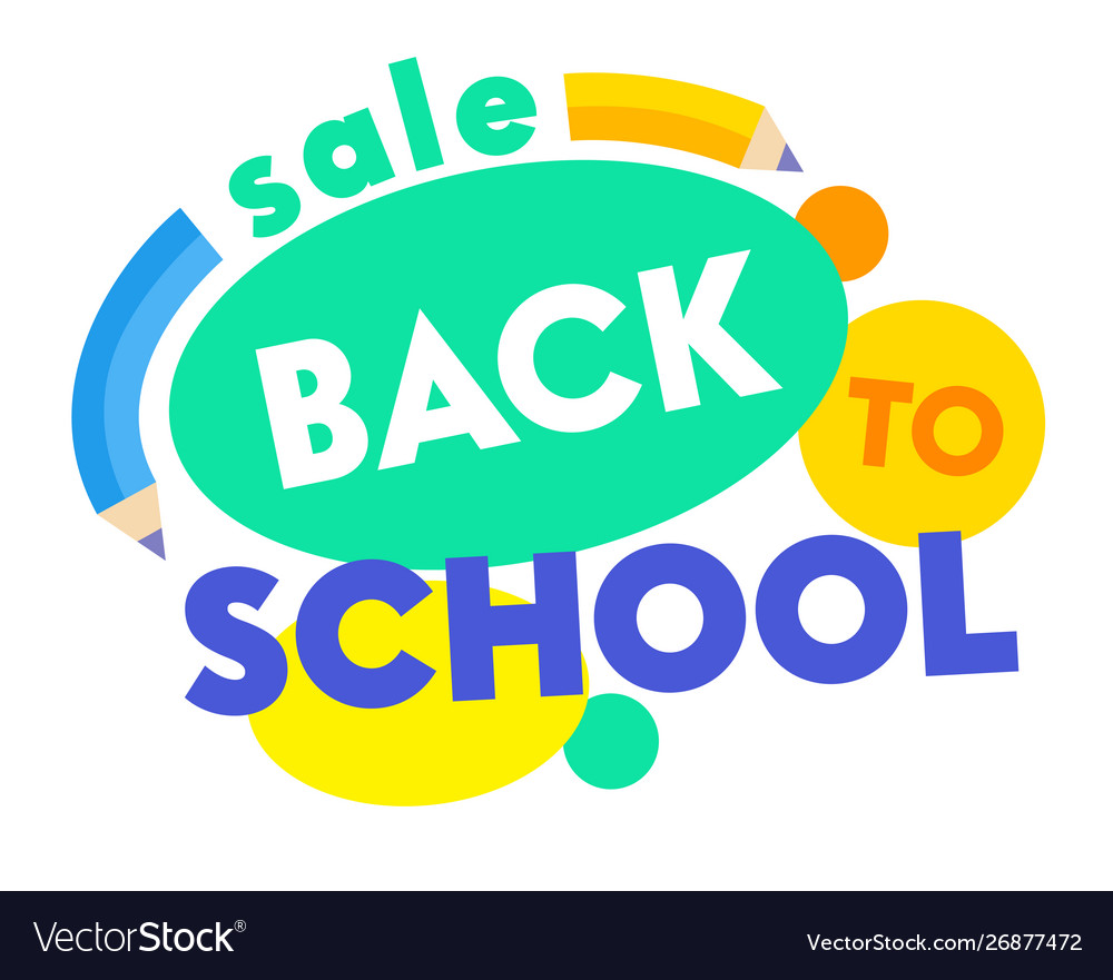 Back to school sale banner with colorful title and