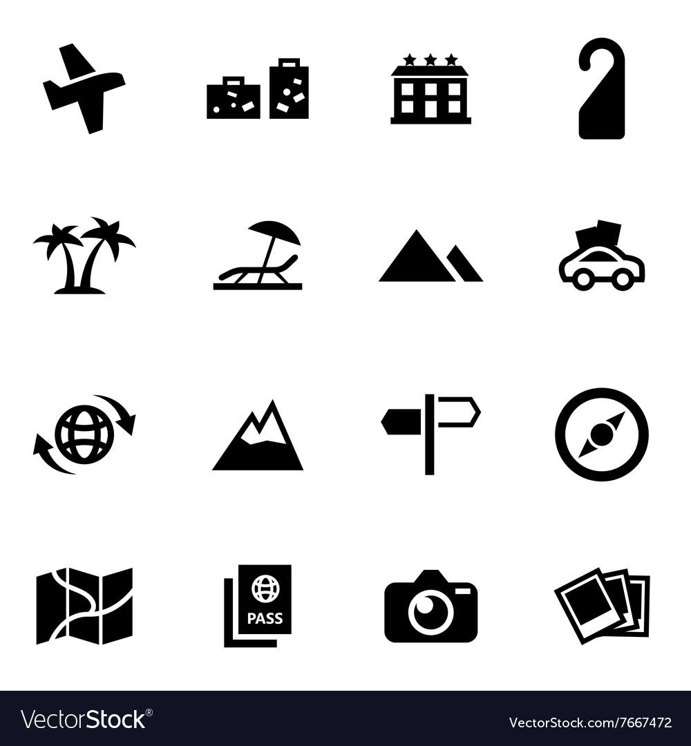 Black travel icon set