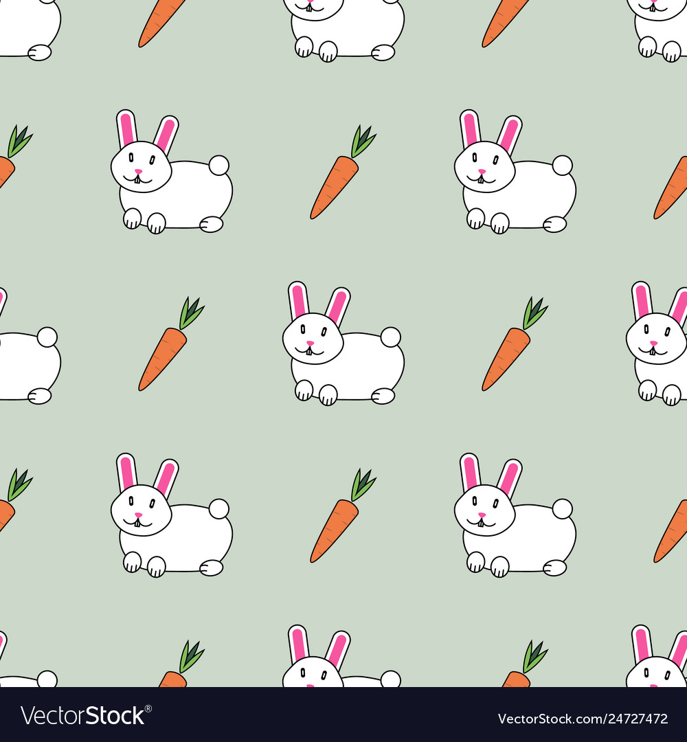 Cute seamless pattern with cute rabbits and