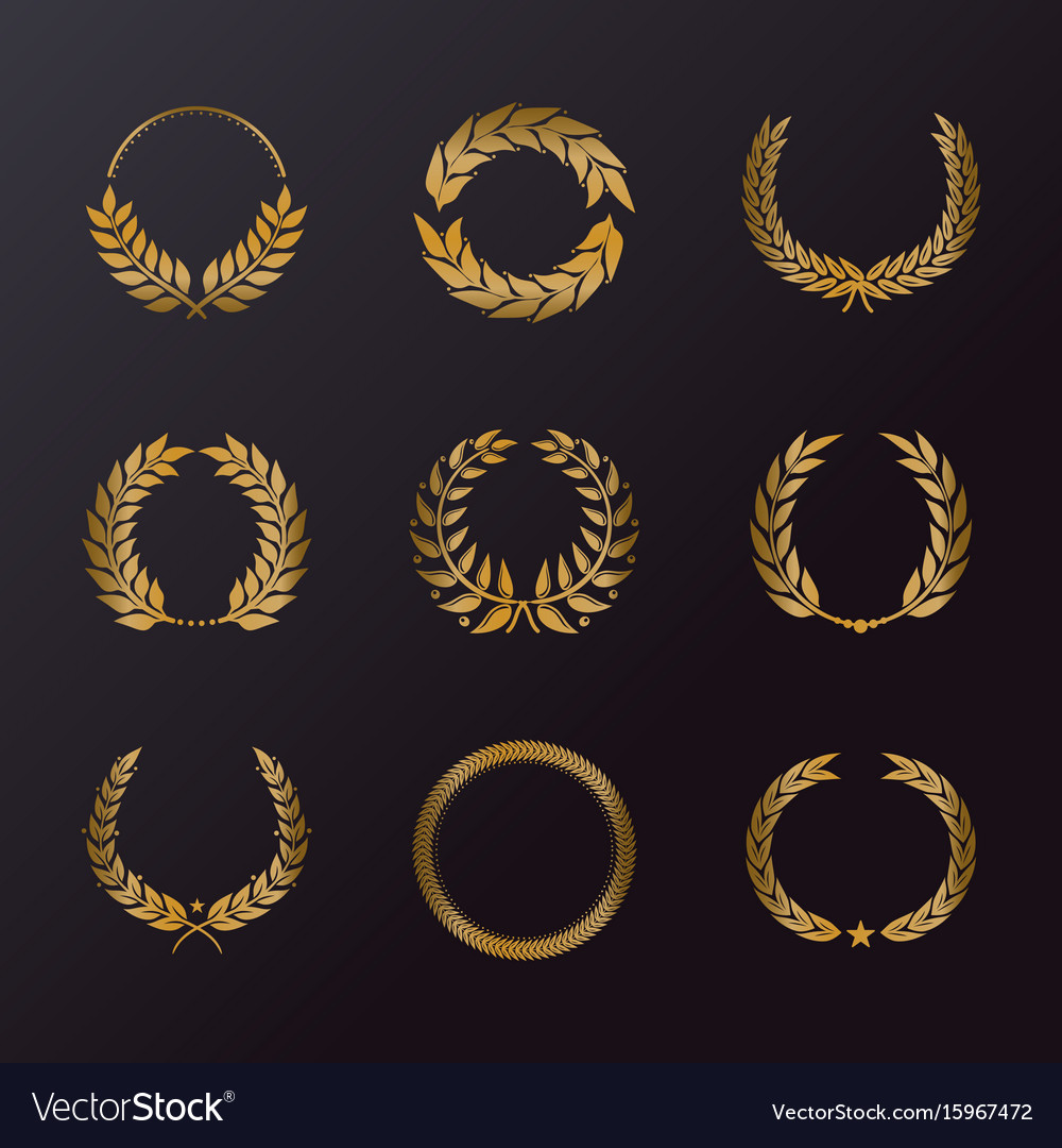 Floral decoration in form of laurel wreath icons vector image