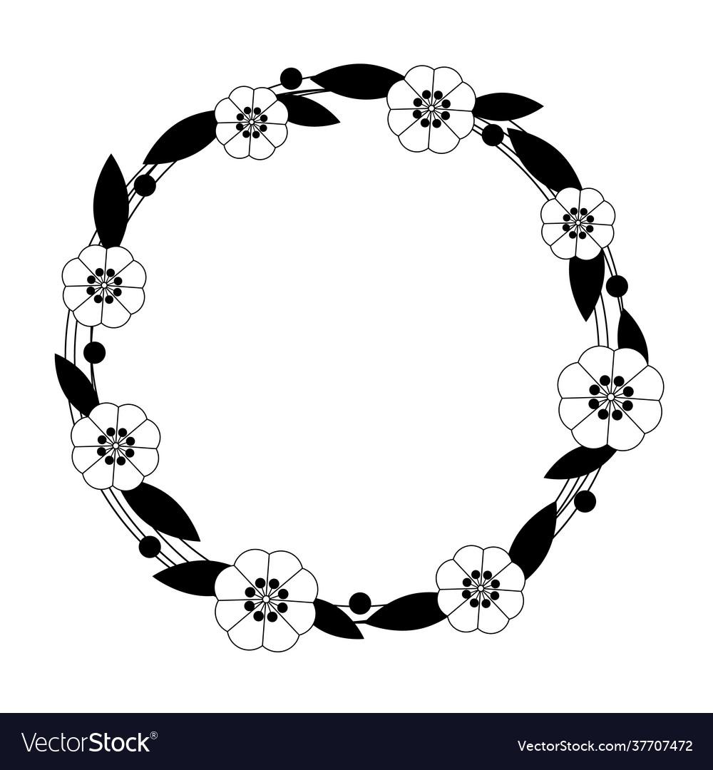 Flower circle frame on white background