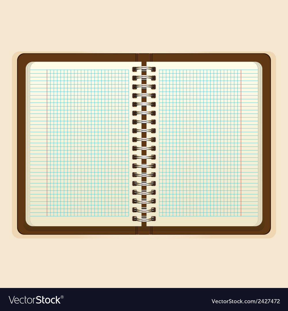 Open notebook with white page on beige background