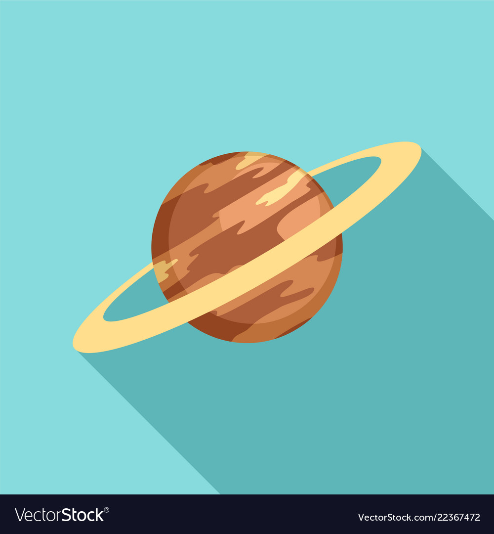 Saturn planet icon flat style