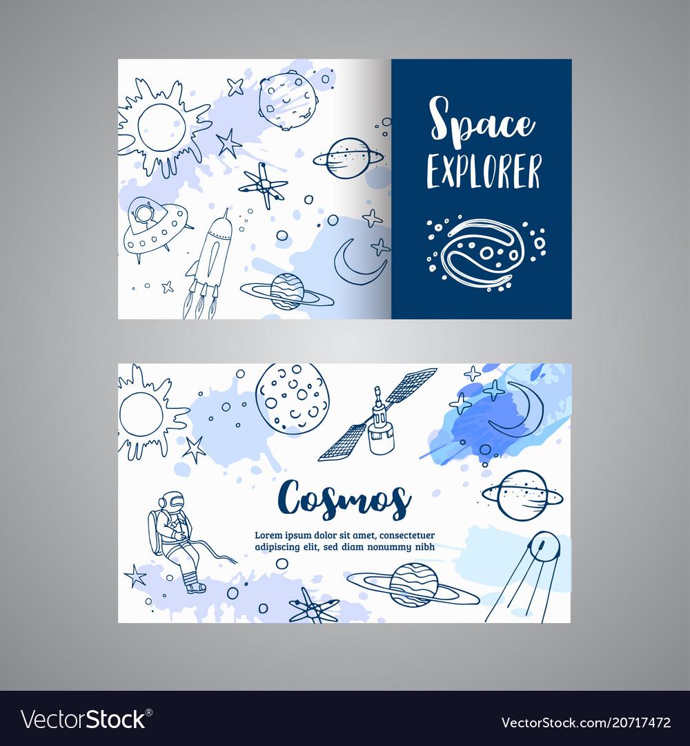 Space explorer slogan horizontal cards hand drawn