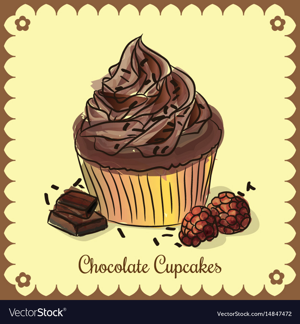 Vintage card chocolate cupcakes vector image