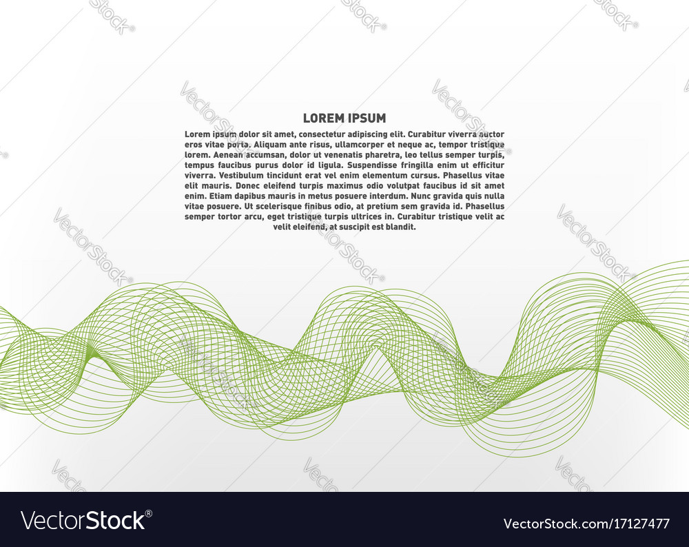 Abstract with green waves on white background