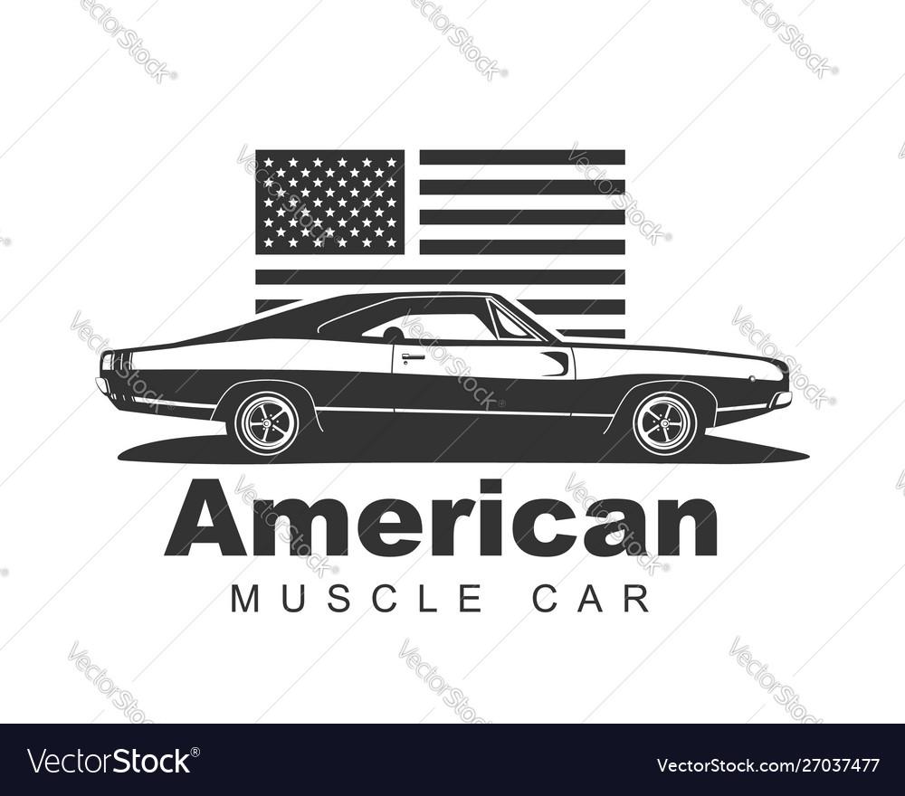 American Muscle Car Supercar Garage Logo Vector Image